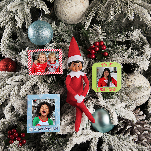 Elf on tree with picture frames
