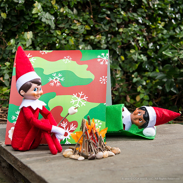 Elves camping with printable