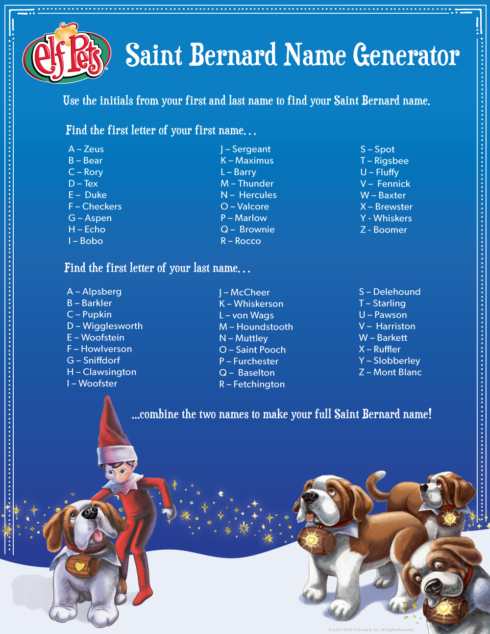 Find Your Saint Bernard Name The Elf On The Shelf