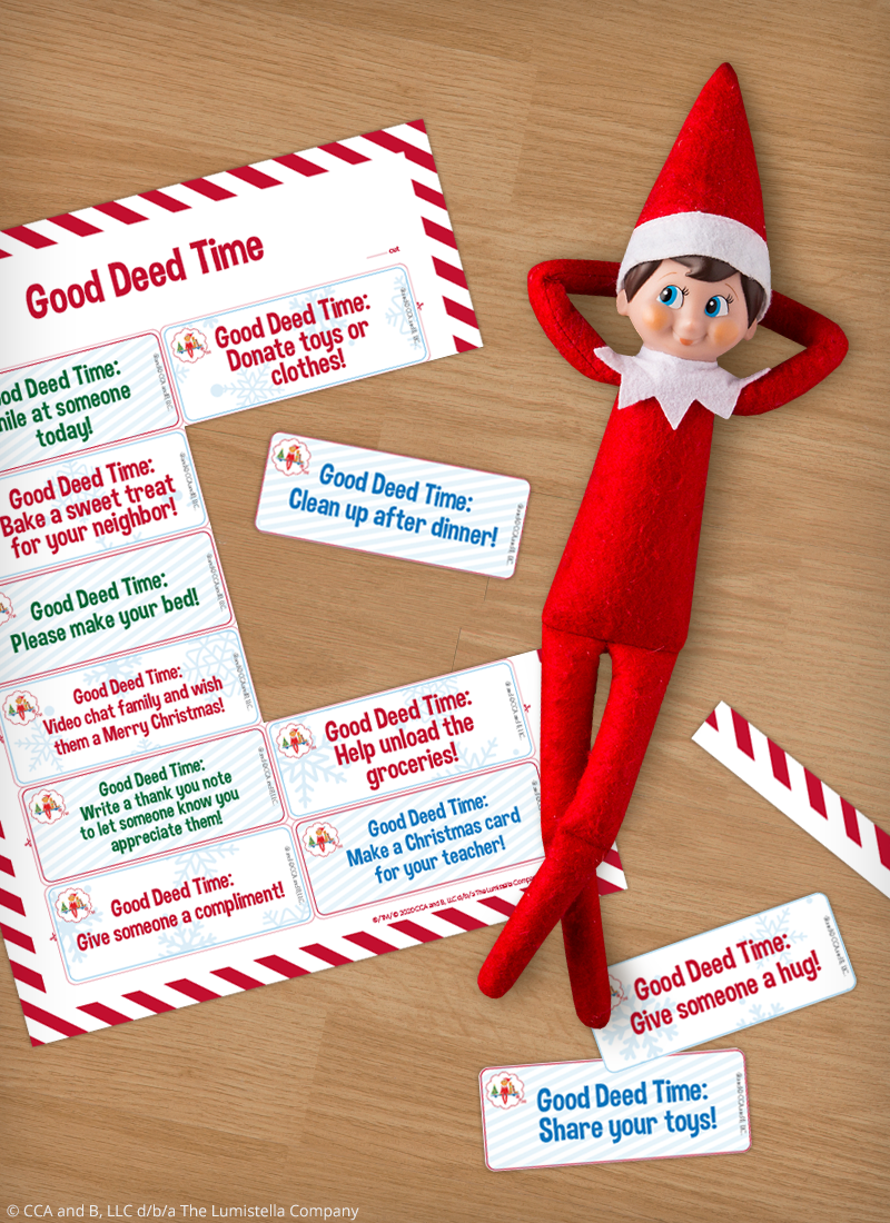 Elf with printable good deed cards