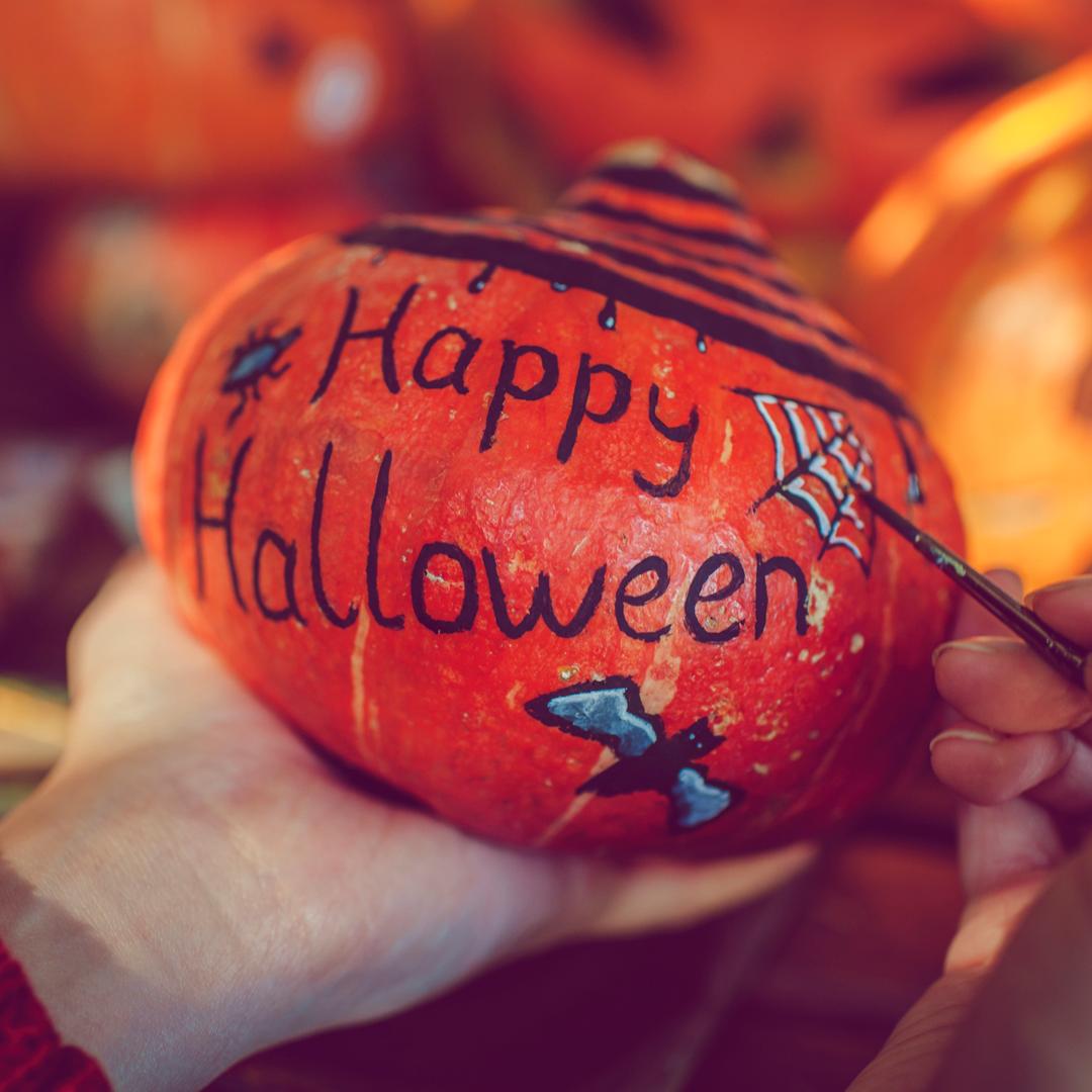 No-Carve Halloween Words Pumpkin