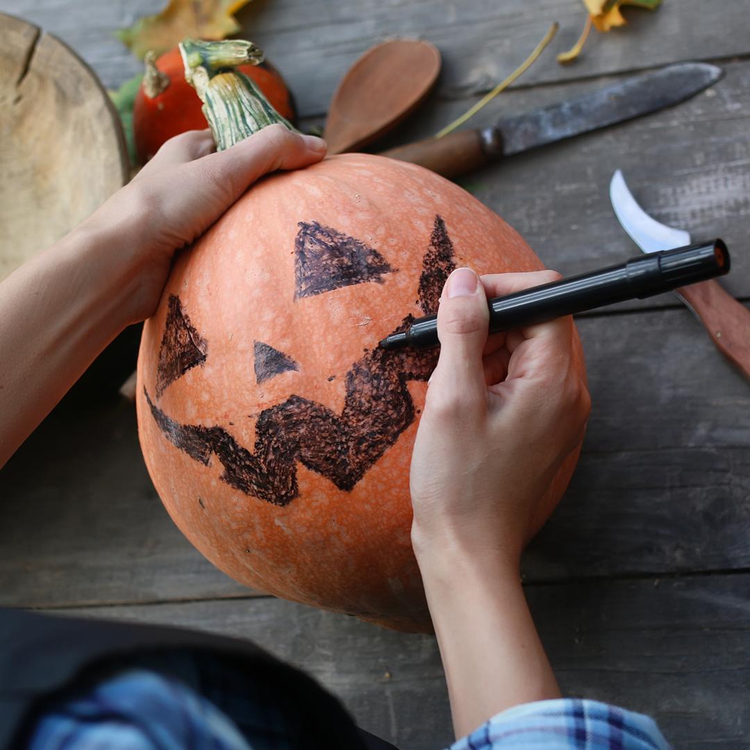 No-Carve Doodling Pumpkin