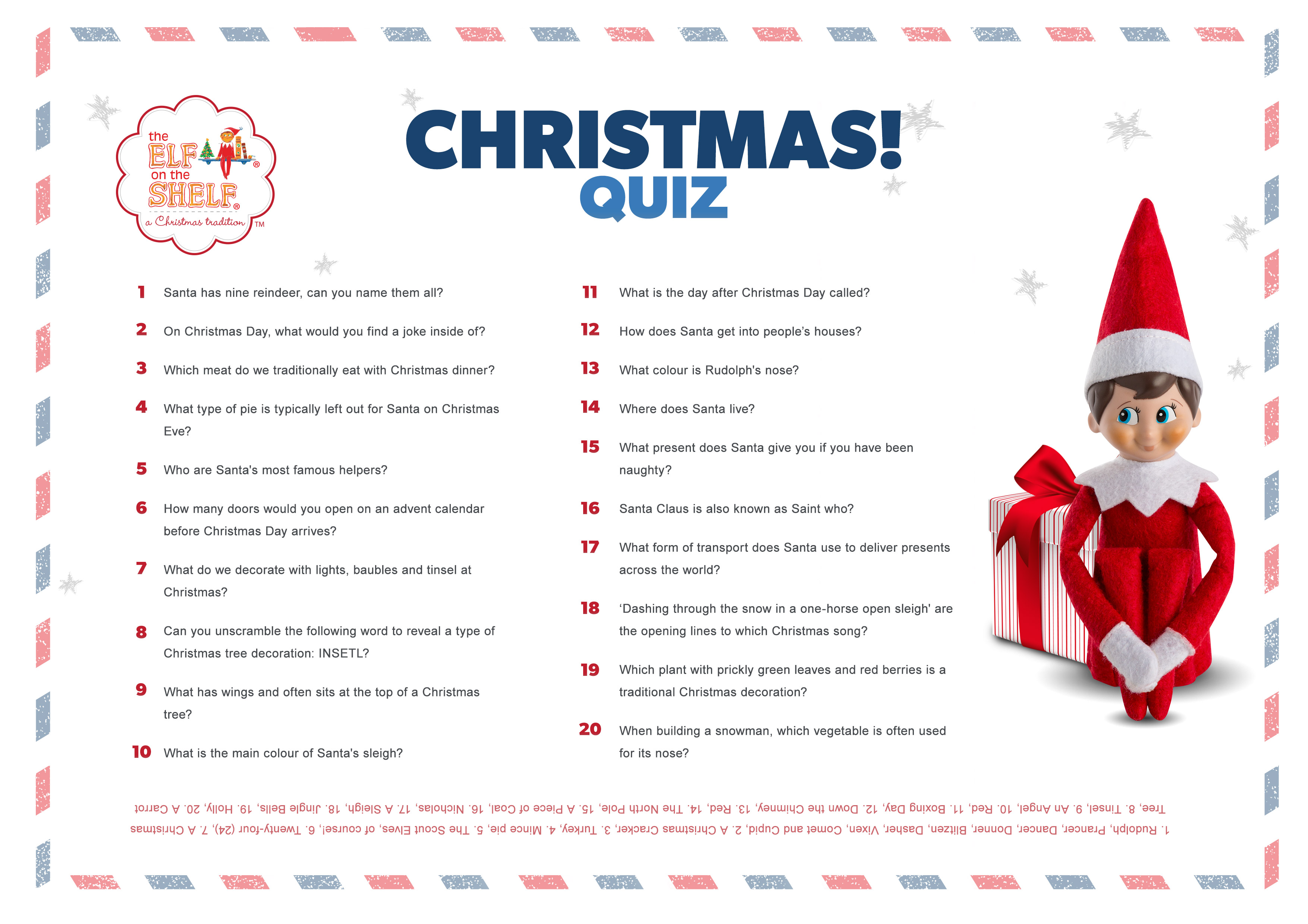 20 Great Christmas Quiz Questions For Kids Elf On The Shelf Uk