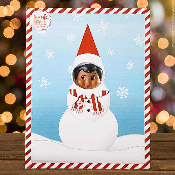 Elf with snowman cutout