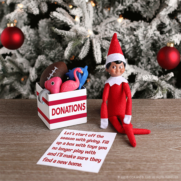 Elf with a donation box of toys