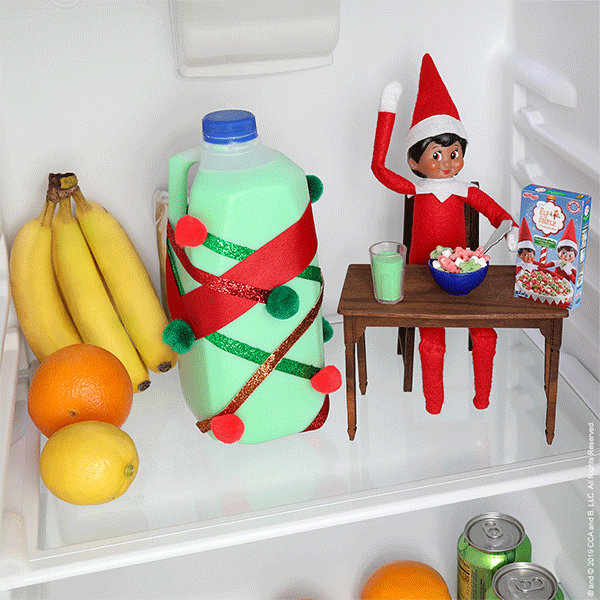 Elf in fridge with milk and cereal