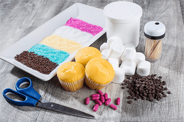 Ingredients needed for Easy Easter Bunny Cupcakes