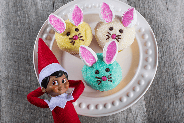 Finished Easy Easter Bunny Cupcakes with Scout Elf