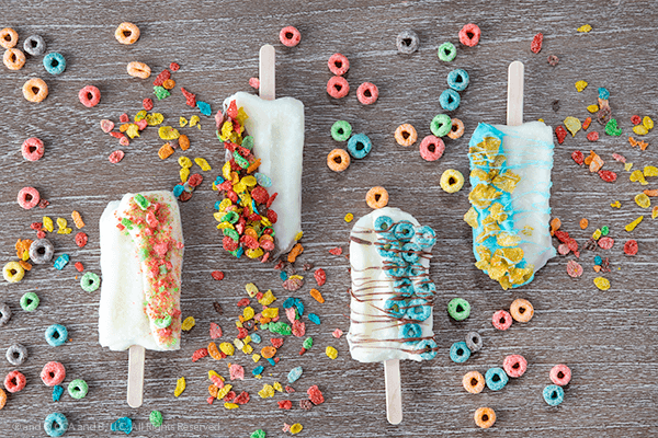Finished assortment of cereal pops
