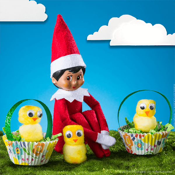 Elf seated with completed Chicks in a Basket craft