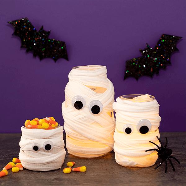 Mummy jar craft on purple background