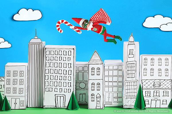Super hero elf flying over paper city