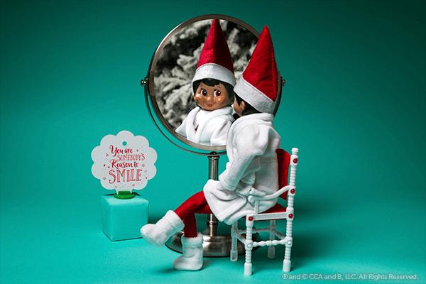 Elf looking in mirror