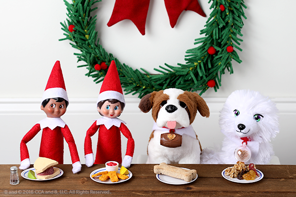 Elves and pets eating tiny meals