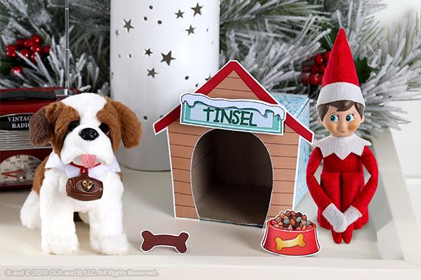 Dog house printable on display with dog and elf
