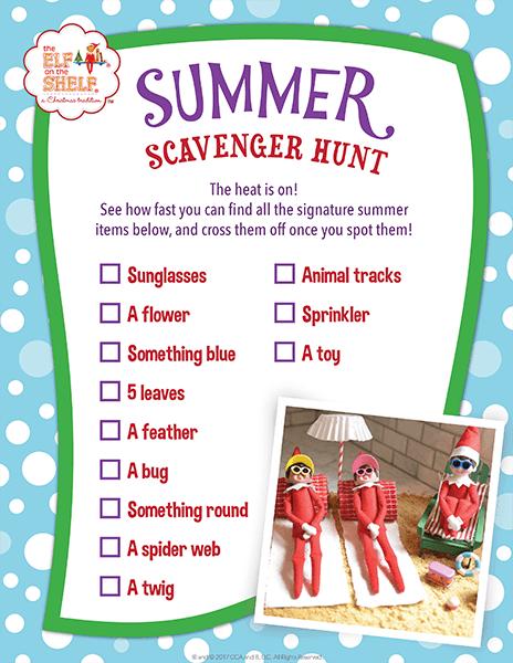 Summer scavenger hunt sheet