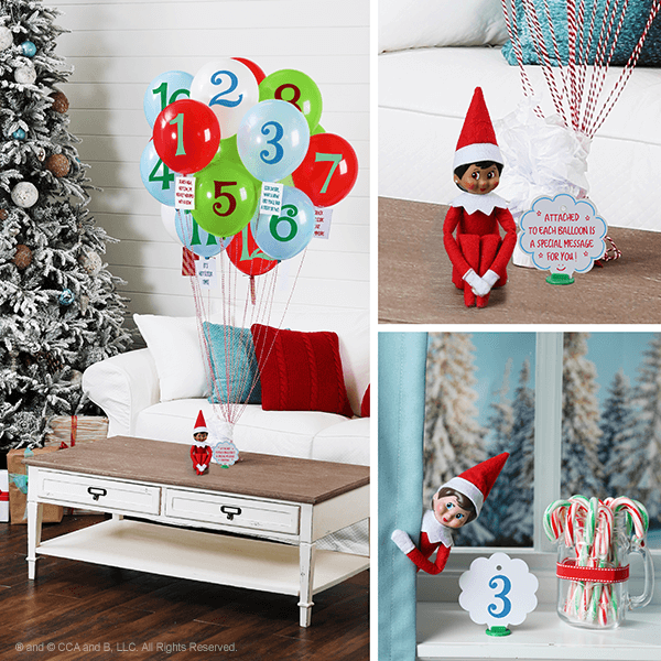 Series of elf with clues and balloons