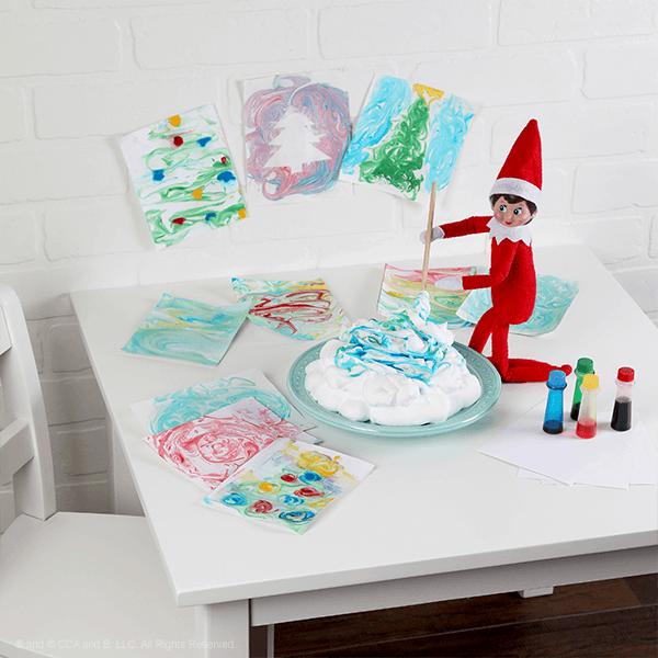 Elf making a shaving cream craft