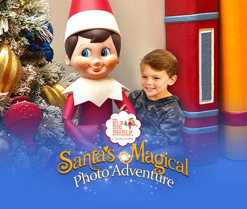 Santa's Magical Photo Adventure logo and event with a child posing with Scout Elf statue