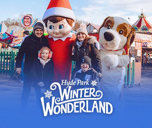 Hyde Park's Winter Wonderland logo and event with family posing with a Scout Elf and St. Bernard mascots