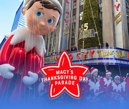 Macy's Thanksgiving Day Parade logo and The Elf on the Shelf balloon