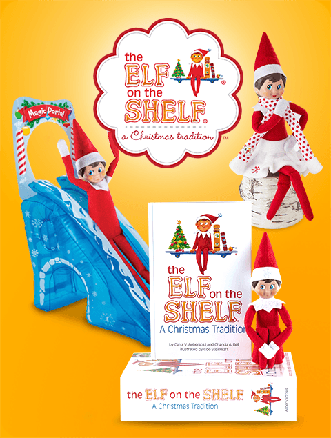 The Elf on the Shelf® logo and products, including a slide, book and elf clothes