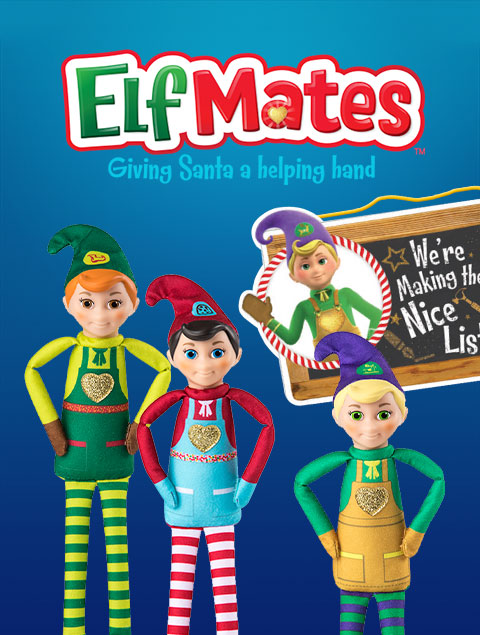 Elf Mates logo and products, including elf dolls and a sign