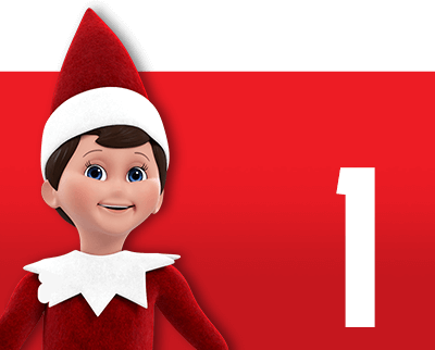 Red box with elf and number 1