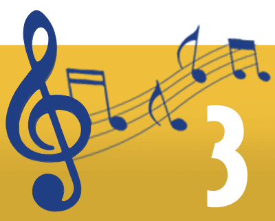Yellow box with blue music notes and number 3