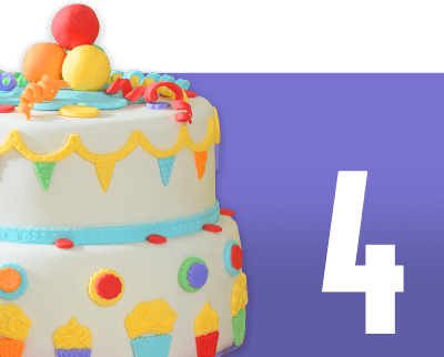 Purple box with birthday cake and number 4
