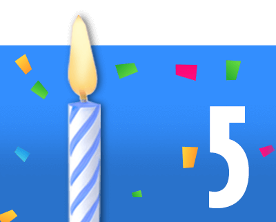Blue box with candle and number 5