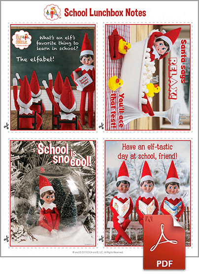 Printable Lunchbox Notes from The Elf on the Shelf