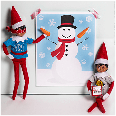 Pin the Nose on the Snowman - Funny Elf on the Shelf Ideas