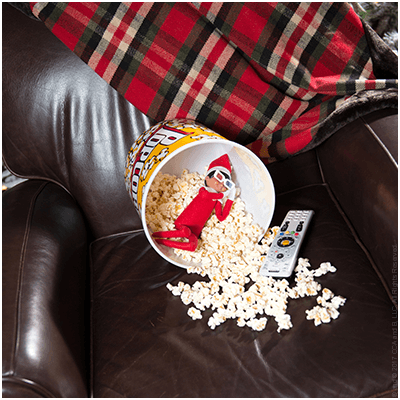 Cinema Snooze - Funny Elf on the Shelf Ideas - The Elf on the Shelf