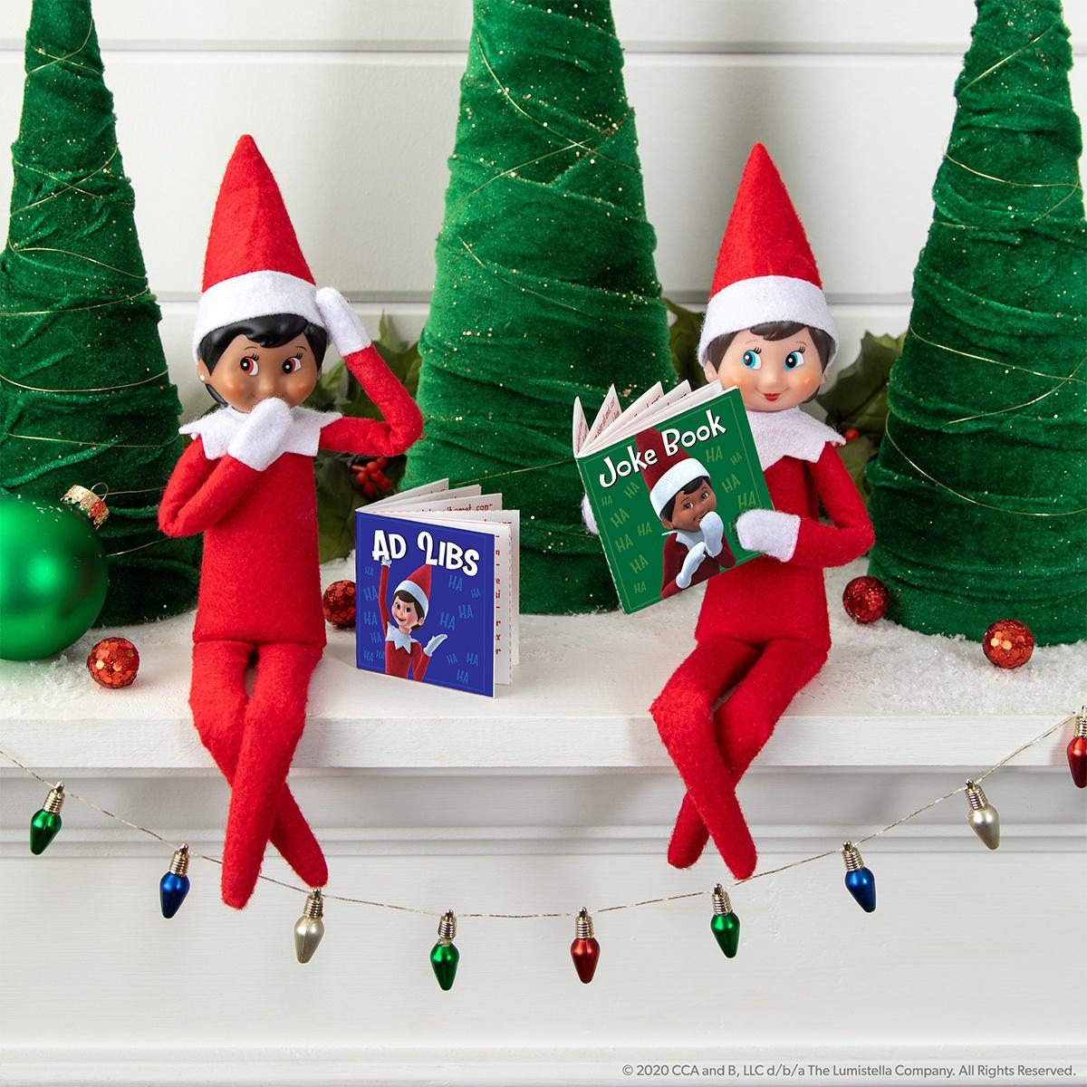 Elves on shelf with joke books