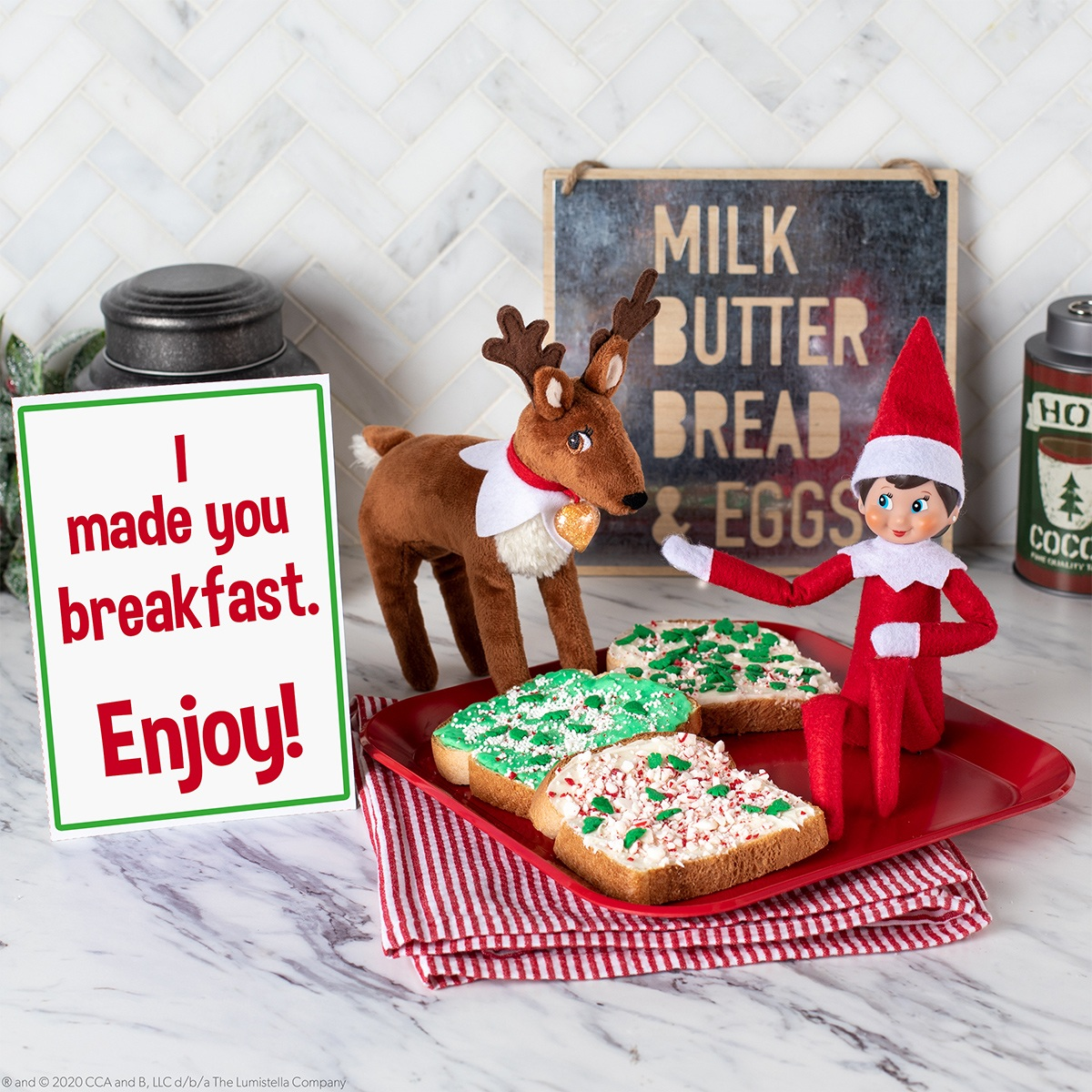 Elf and reindeer with decorated toast