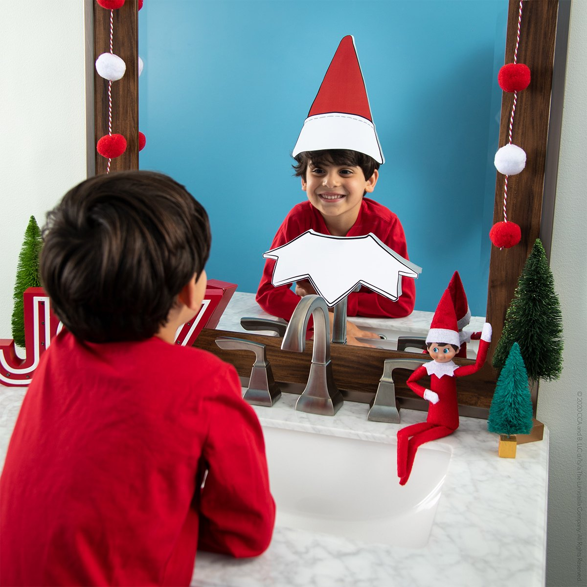 Boy in mirror with elf hat and color printable