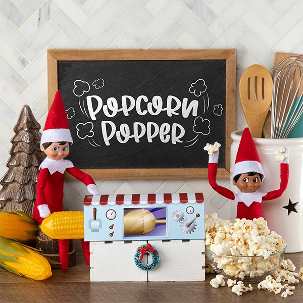 Elves making popcorn with printable