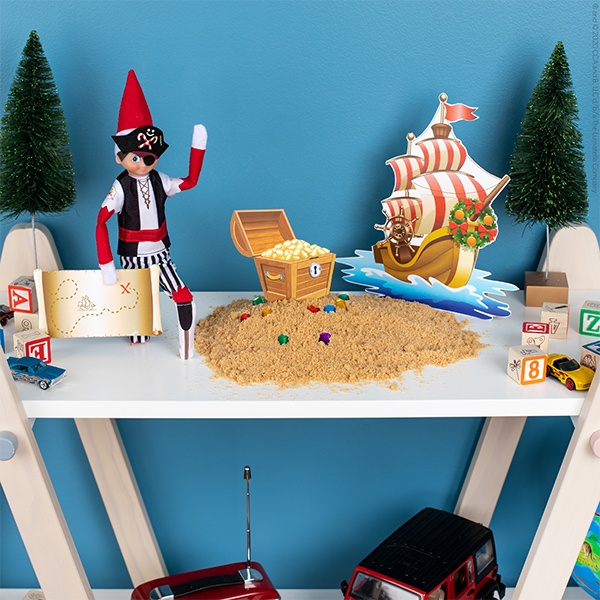 Elf in pirate costume with ship printable