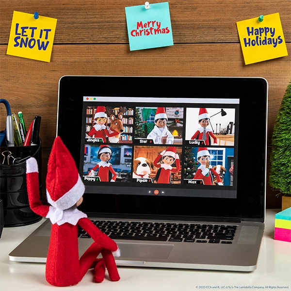 Elf with laptop with virtual meeting image
