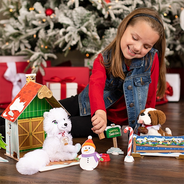 Girl with Elf Pets and Cozy Christmas Cabin Playset