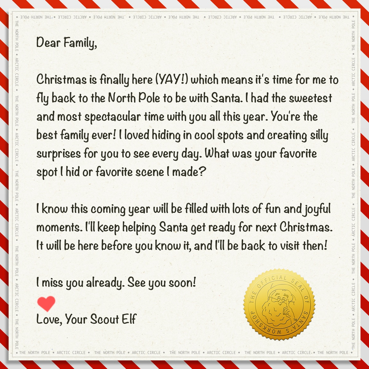 Scout Elf Farewell Letter