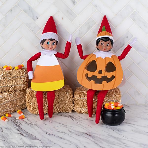 Elves dressed in printable Halloween costumes