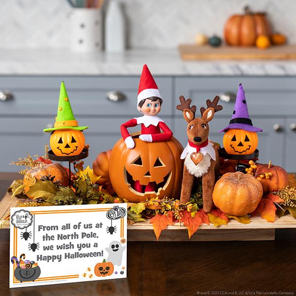 Elf among Halloween decor with printable message